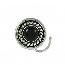 Fashion Black Onyx Gemstone 925 Sterling Silver Antique Nose Pin Jewellery