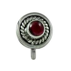 Designer Garnet Gemstone 925 Sterling Silver Indian Nose Pin Handmade Jewellery