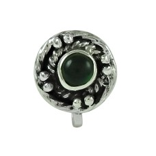 Scenic Green Onyx Gemstone 925 Sterling Silver Nose Pin Handmade Jewellery