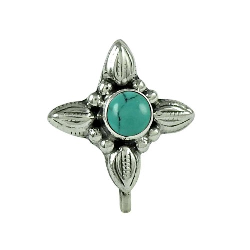 Stunning Turquoise Gemstone 925 Sterling Silver Nose Pin Jewellery