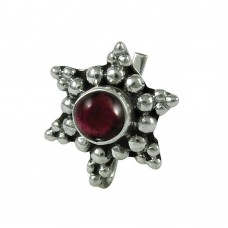 Lustrous Garnet Gemstone 925 Sterling Silver Fashion Nose Pin Jewellery