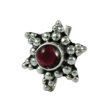 Dainty Garnet Gemstone 925 Sterling Silver Vintage Nose Pin Indian Jewellery