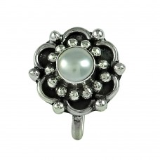 Seemly Pearl 925 Sterling Silver Nose Pin Jewellery