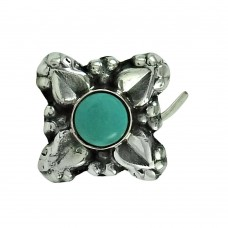 Classic Turquoise Gemstone 925 Sterling Silver Nose Pin Jewellery