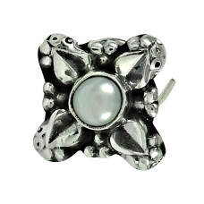 Trendy Pearl 925 Sterling Silver Nose Pin Jewellery
