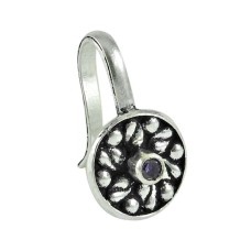 925 sterling silver fashion jewelry Trendy Amethyst Nose Pin