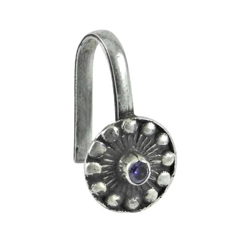 925 gemstone silver jewelry Designer Amethyst Nose Pin