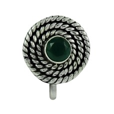Beautiful Green Onyx Gemstone 925 Sterling Silver Nose Pin Jewellery