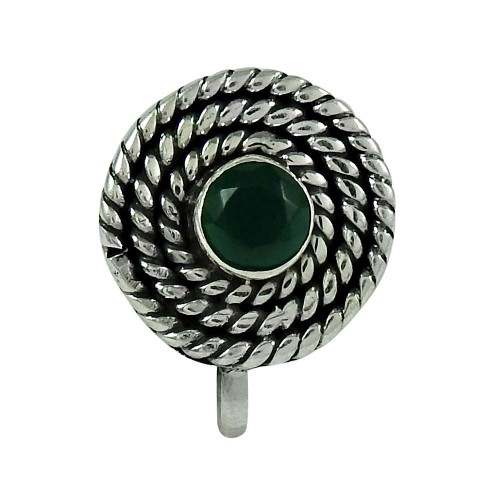 Beautiful Green Onyx Gemstone 925 Sterling Silver Nose Pin Jewellery