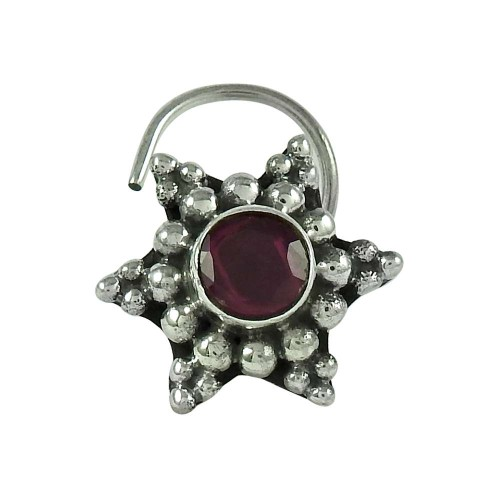 Fashion Ruby Gemstone 925 Sterling Silver Antique Nose Pin Indian Jewellery