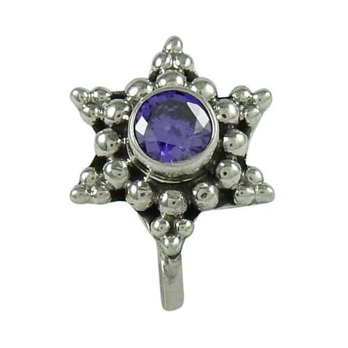Lovely Amethyst Gemstone Indian Sterling Silver Nose Pin Jewellery