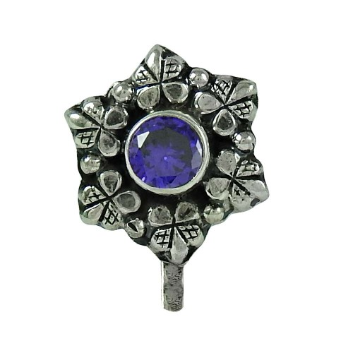 Graceful Iolite Gemstone 925 Sterling Silver Nose Pin Indian Jewellery
