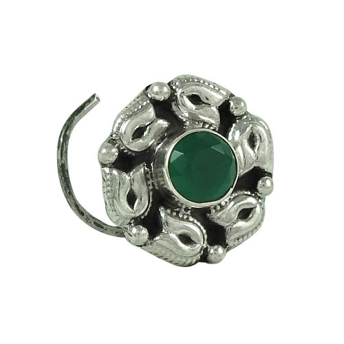 Dainty Green Onyx Gemstone 925 Sterling Silver Vintage Nose Pin Jewellery