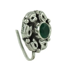 Good-Looking Green Onyx Gemstone 925 Sterling Silver Antique Nose Pin Jewellery
