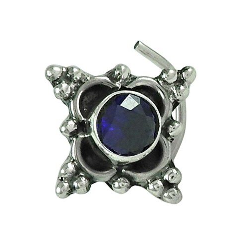 Sightly Iolite Gemstone Indian Sterling Silver Nose Pin Jewellery