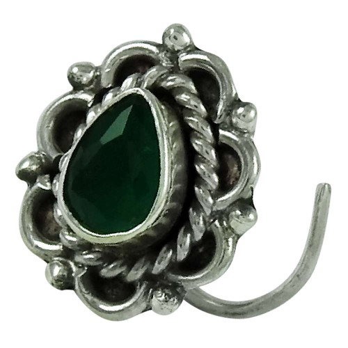 Classic Green Onyx Gemstone 925 Sterling Silver Nose Pin Indian Jewellery