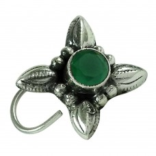 Charming Green Onyx Gemstone 925 Sterling Silver Vintage Nose Pin Jewellery