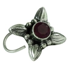 Fashion Ruby Gemstone 925 Sterling Silver Antique Nose Pin Handmade Jewellery