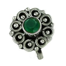 Scenic Green Onyx Gemstone 925 Sterling Silver Nose Pin Jewellery