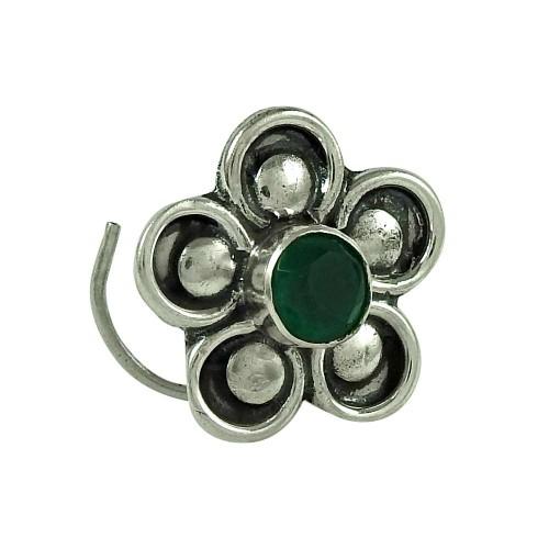 Graceful Green Onyx Gemstone 925 Sterling Silver Nose Pin Jewellery