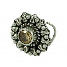 Lustrous Smoky Quartz Gemstone 925 Sterling Silver Fashion Nose Pin Jewellery