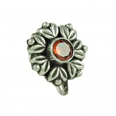 Seemly Garnet Gemstone 925 Sterling Silver Nose Pin Jewellery