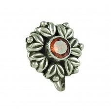 Seemly Garnet Gemstone 925 Sterling Silver Nose Pin Jewellery
