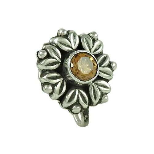 Personable Citrine Gemstone 925 Sterling Silver Nose Pin Jewellery
