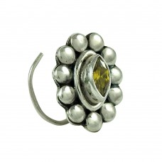 Engaging Citrine Gemstone 925 Sterling Silver Nose Pin Jewellery