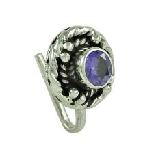 Beautiful Iolite Gemstone 925 Sterling Silver Nose Pin Jewellery