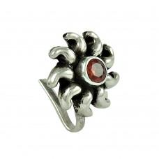 Designer Garnet Gemstone 925 Sterling Silver Indian Nose Pin Jewellery