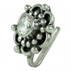 Pretty CZ Gemstone 925 Sterling Silver Gemstone Nose Pin Jewellery