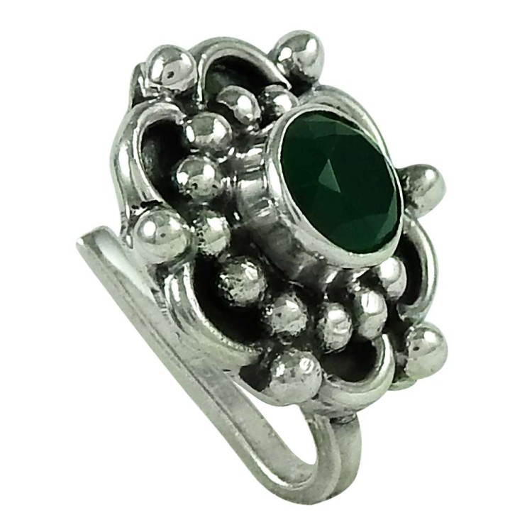 f8adca943a53c Lovely Green Onyx Gemstone Indian Sterling Silver Nose Pin Jewellery