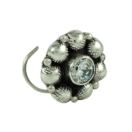 Dainty CZ Gemstone 925 Sterling Silver Vintage Nose Pin Jewellery