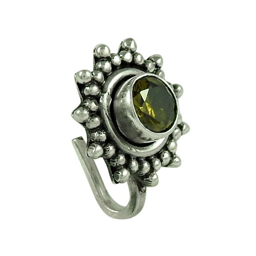 Perfect Citrine Gemstone 925 Sterling Silver Nose Pin Jewellery