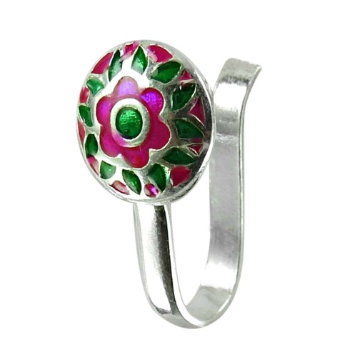 Daily Wear Inlay Nose Pin Handmade 925 Sterling Silver Jewellery