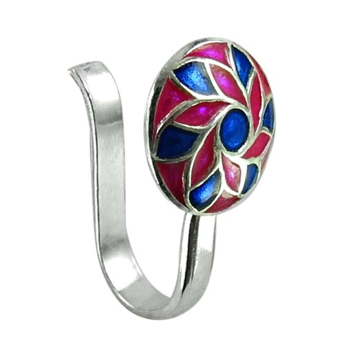 Designer Inlay Nose Pin 925 Sterling Silver Handmade Jewellery