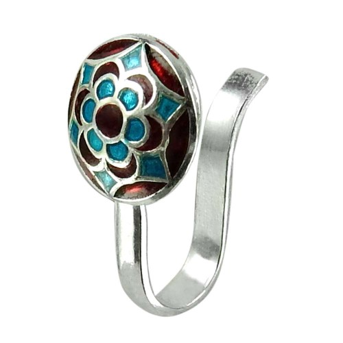Lustrous Inlay Nose Pin Handmade 925 Sterling Silver Fashion Jewellery