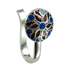 Seemly Sterling Silver Inlay Nose Pin Handmade 925 Silver Jewellery