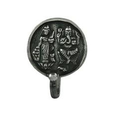 925 Sterling Silver Lakshmi Ganesh Nose Pin Vintage Jewellery
