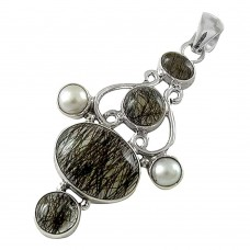 Modern Style !! Black Rutile, Pearl 925 Sterling Silver Pendant