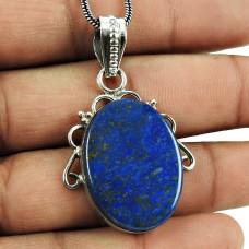 Designer Lapis Gemstone Pendant 925 Sterling Silver Gemstone Jewellery