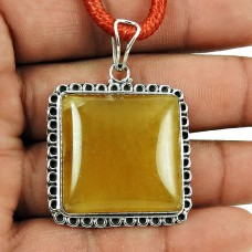 Beautiful Yellow Aventurine Gemstone Pendant 925 Sterling Silver Antique Jewellery