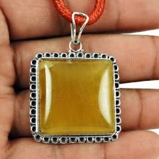 Beautiful Yellow Aventurine Gemstone Pendant 925 Sterling Silver Antique Jewellery