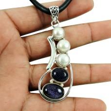 Precious Style!! 925 Sterling Silver Blue Sunstone, Pearl Pendant