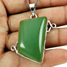 Charming Green Aventurine Gemstone Pendant 925 Sterling Silver Jewellery