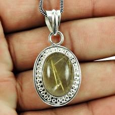 Big Natural!! 925 Sterling Silver Golden Rutile Pendant