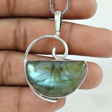 Designer 925 Sterling Silver Labradorite Gemstone Pendant Traditional Jewellery