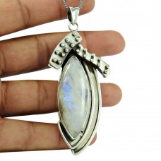 Stylish Rainbow Moonstone 925 Sterling Silver Pendant Indian Jewellery