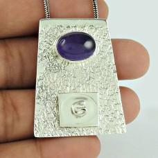 Handy ! Amethyst Gemstone 925 Sterling Silver Pendant Mayorista